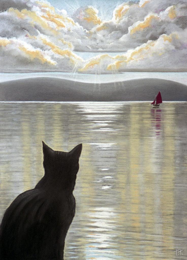 Cat at bay window